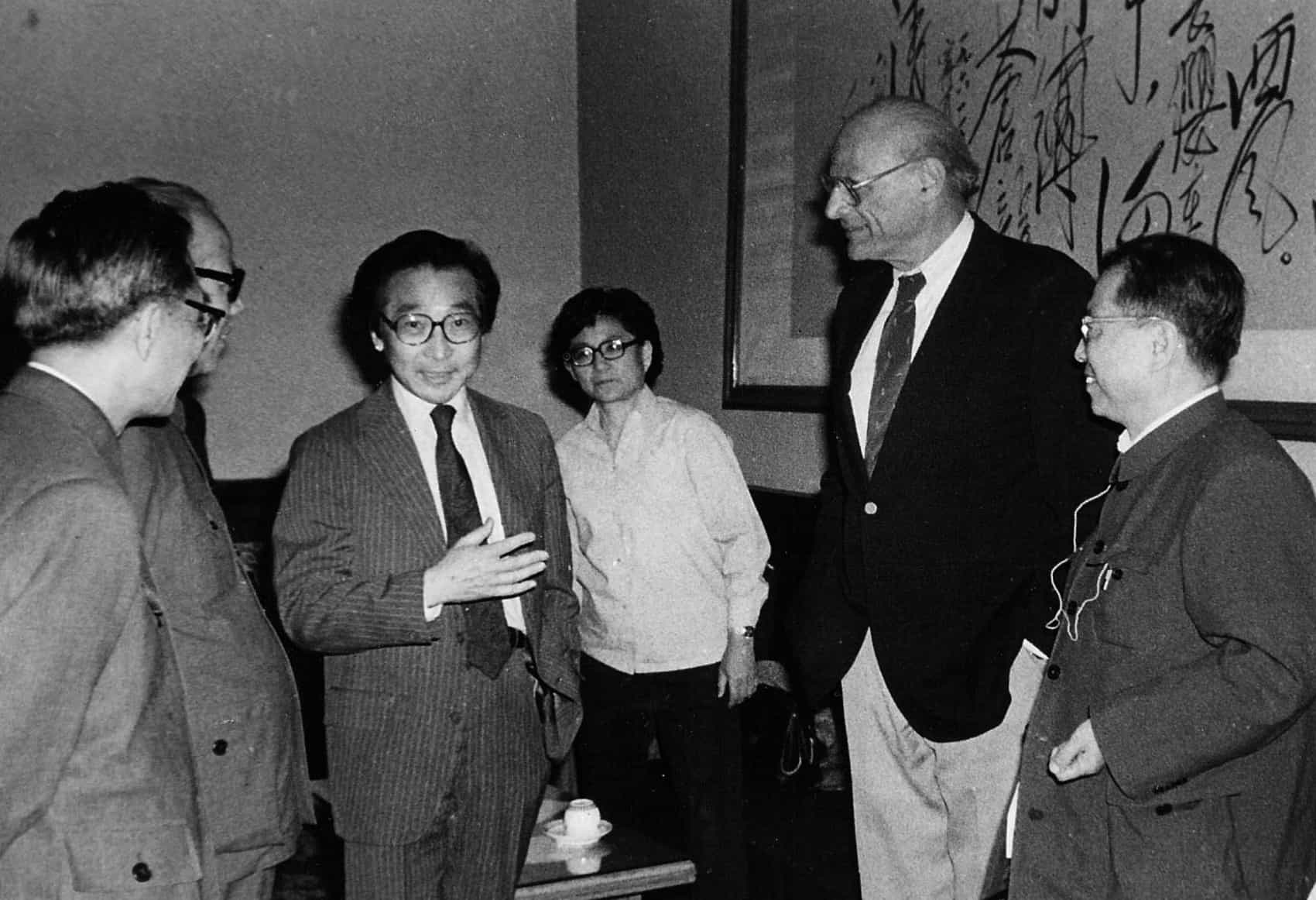 Chou Wen-chung with Arthur Miller and Cao Yu, 1980