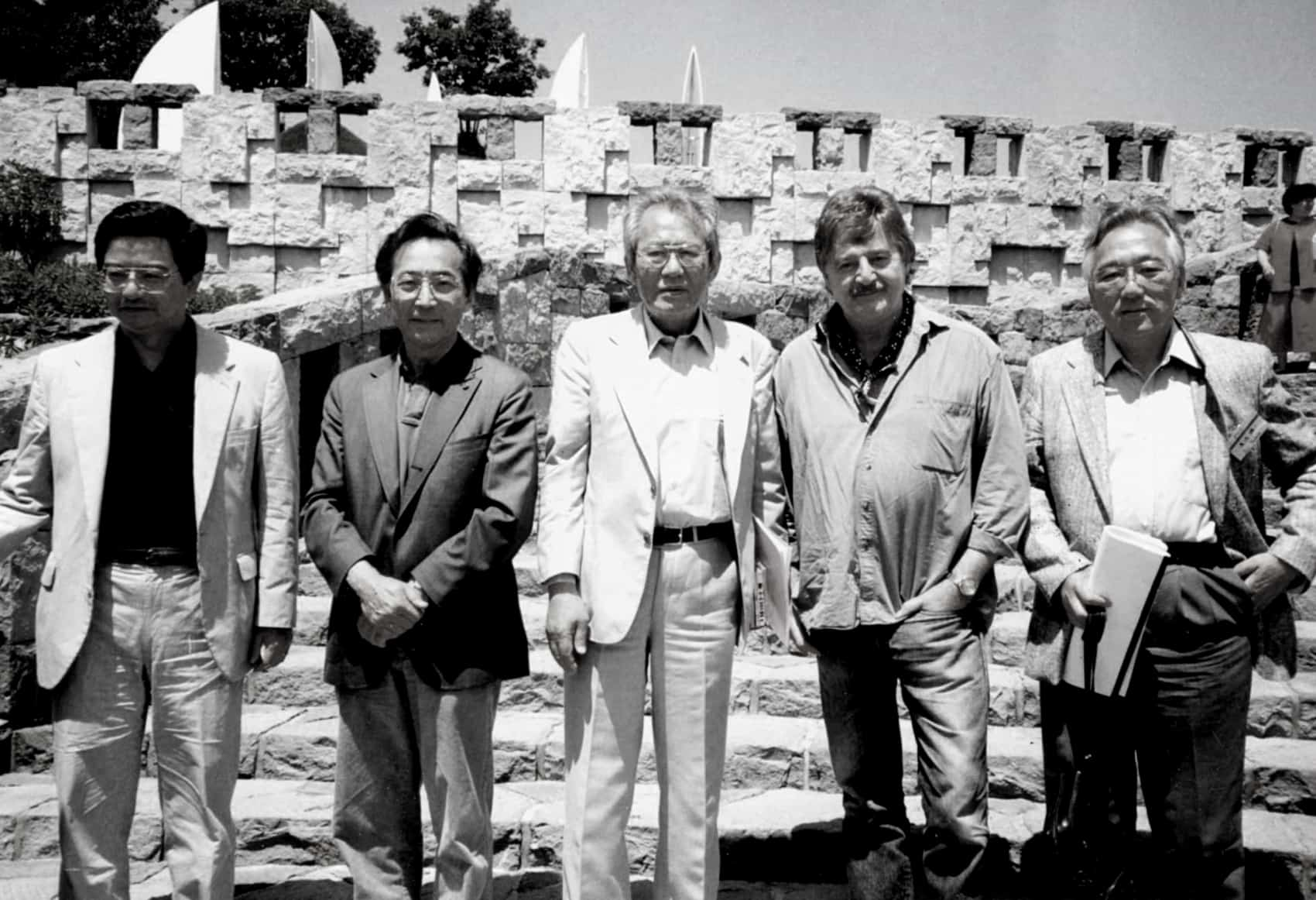 Pacific Composers Conference participants (from left to right): Eugene Lee, Chou Wen-chung, Isang Yun, Peter Sculthorpe, and Joji Yuasa