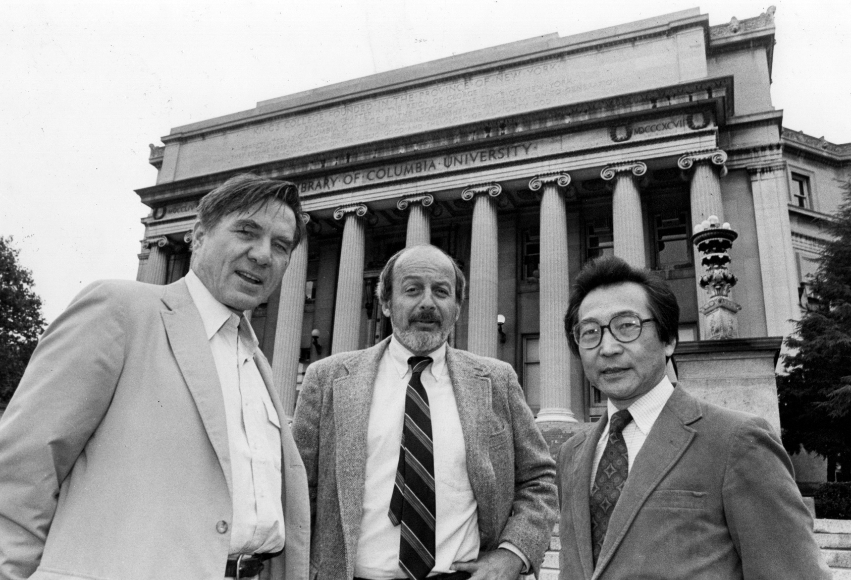 Galway Kinnell, E. L. Doctorow and Chou Wen-chung at Columbia University