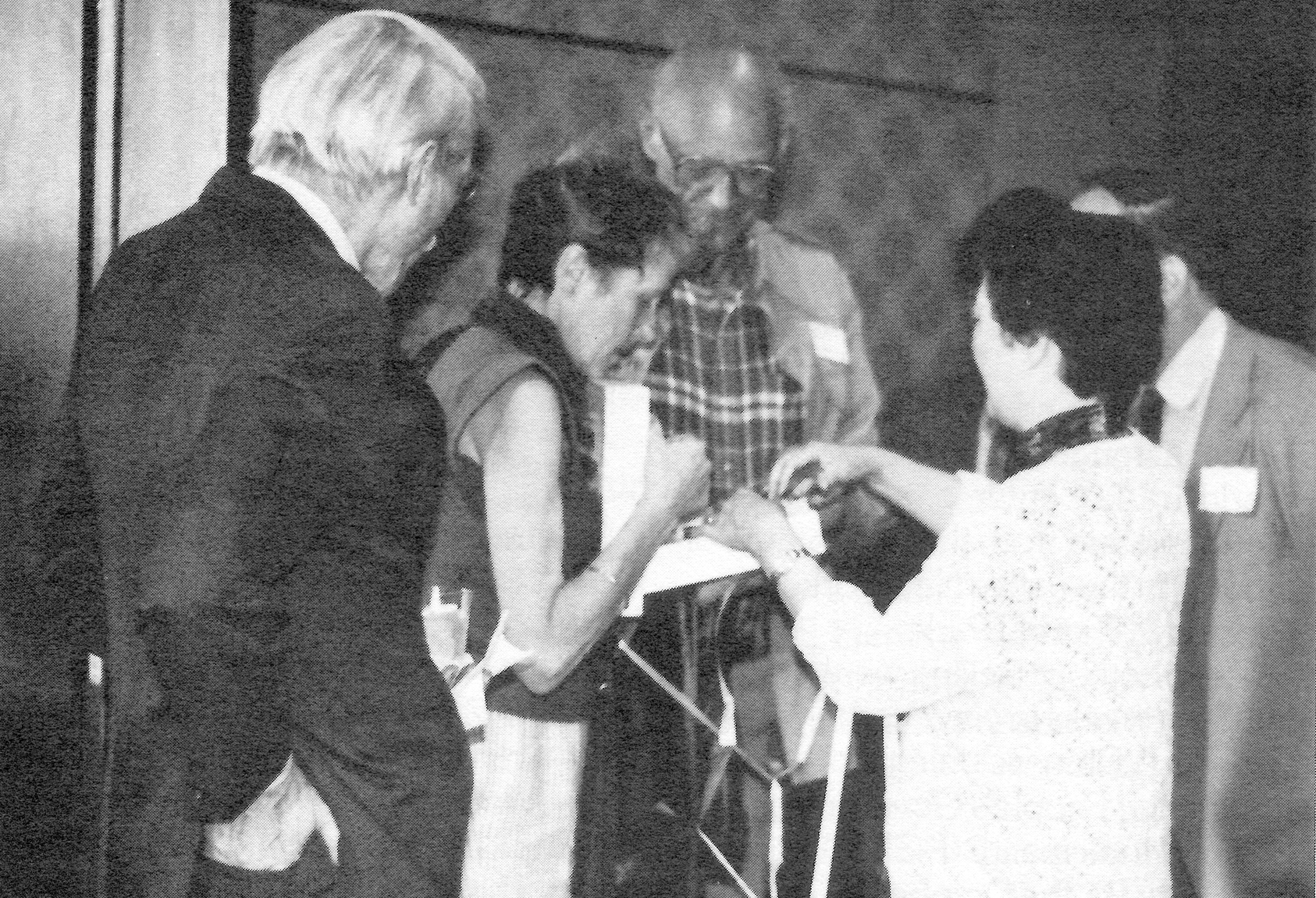 Reunion at The Asia Society (left to right): Harrison E. Salisbury, Inge Morath, Arthur Miller, Zhu Lin, and interpreter Jay Sailey (partial view)