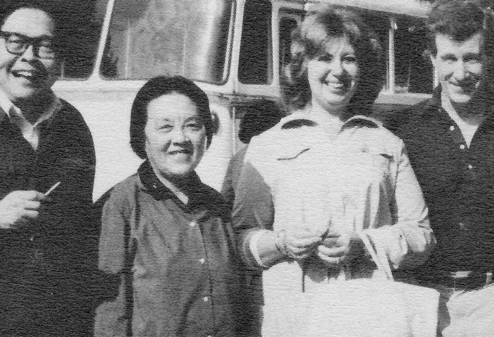 Beverly Sills and Schuyler Chapin at the Central Conservatory of Music with Yu Yixuan, head of the vocal department, vice director Jiang Ying, and professor Shen Xiang