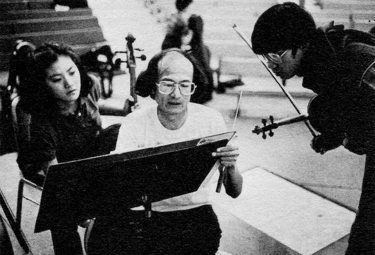 Chen Xieyang and colleagues during rehearsal at the Aspen Music Festival