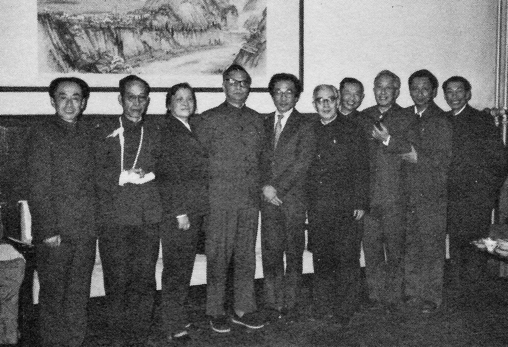 Our trip included nine meetings with the various professional associations under the China Federation of Literary and Arts Circles. Here at a banquet in Beijing are leading members of those organizations: (left to right) Lu Houming, Chinese Photographers Association; Jia Zhi, of the China Society for the Study of Folk Literature and Art; Yang Huilin, CFLAC; Lin Mohan, vice chairman of CFLAC; Chou Wen-chung; Luo Fen, CFLAC; Sun Zhen, Chinese Musicians Association; Hua Junwu, Chinese Artists Association; Meng Guangjun, Chinese Film Association; and You Huihai, Chinese Dancers Association.