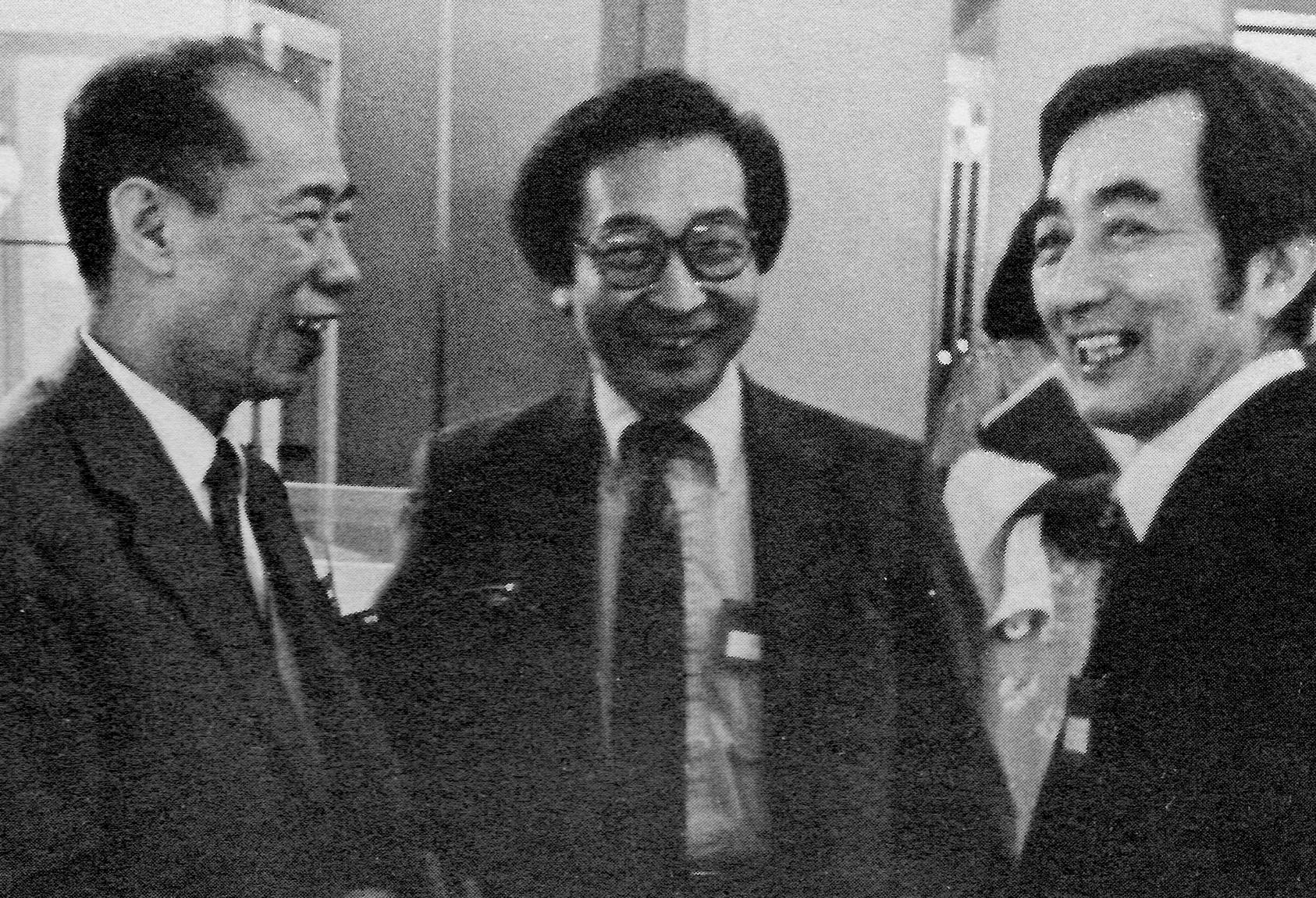 Chou Wen-chung (center) with Li Huanzhi, composer and vice chairman of the Chinese Musicians Association and leader of the delegation from the PRC, and Hsu Tsang-houei, distinguished composer from Taiwan and head of the Taiwan contingent