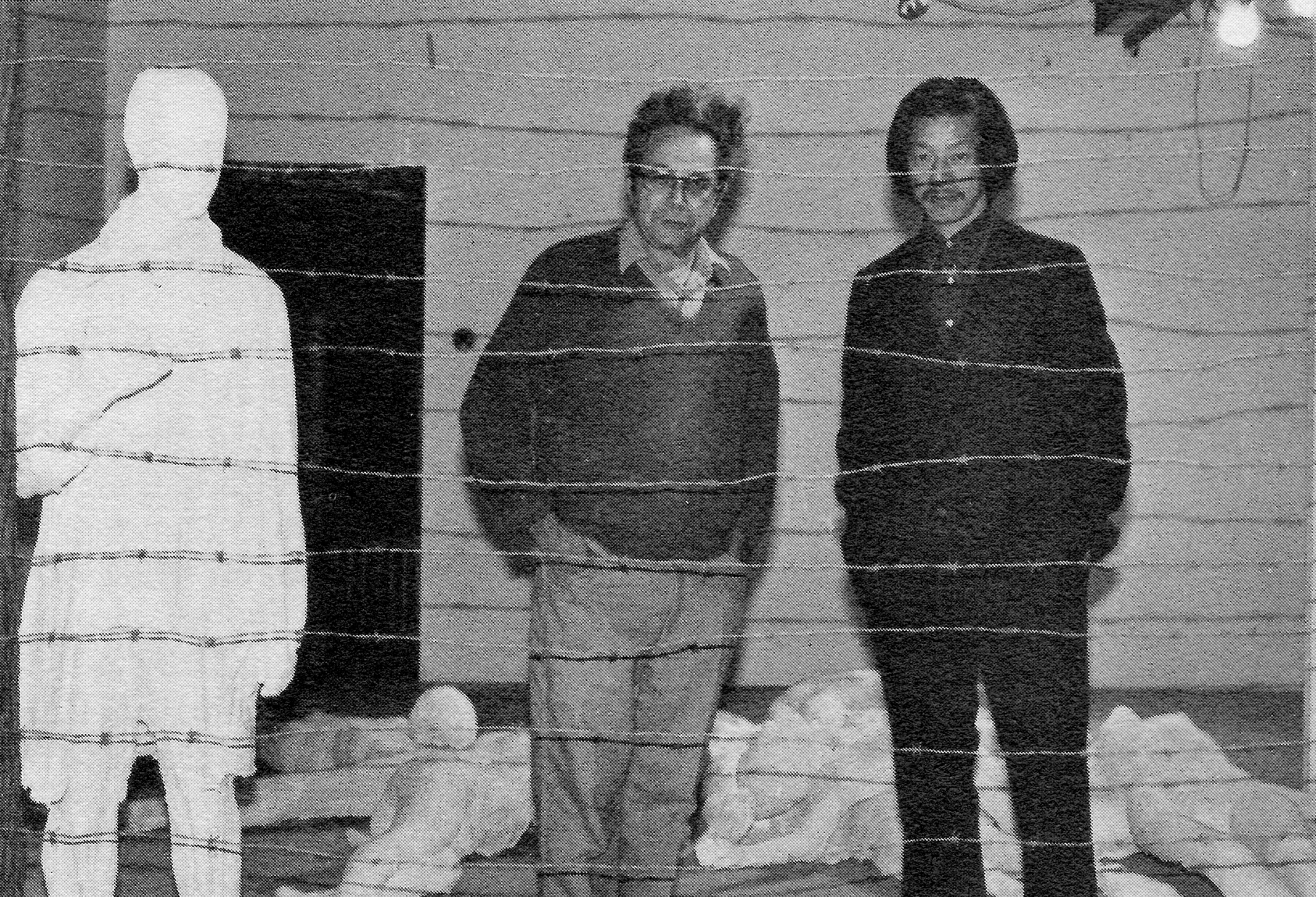 """Yuan Yunsheng and George Segal with part of Segal's sculpture, """"The Holocaust"""""""