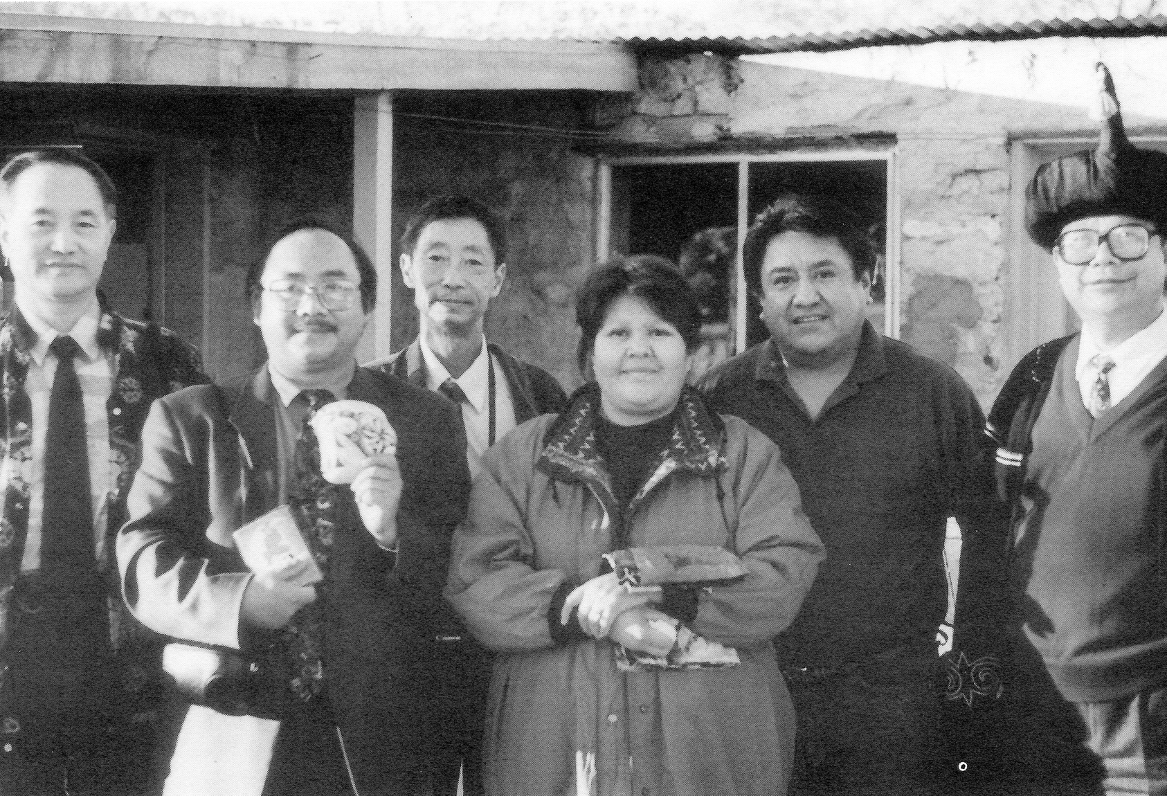Internationally recognized potters Barbara and Joseph Cerno (third and second from right) offered shards of ancient pots, which they use to create new works, to Yunnan Nationalities Institute representatives (left to right) Yang Dejun, Wang Sidai, Yang Jun, and Pu Tongjin (far right). Photo was taken at the Cerno's home and studio near Acoma Pueblo in Grants, New Mexico.