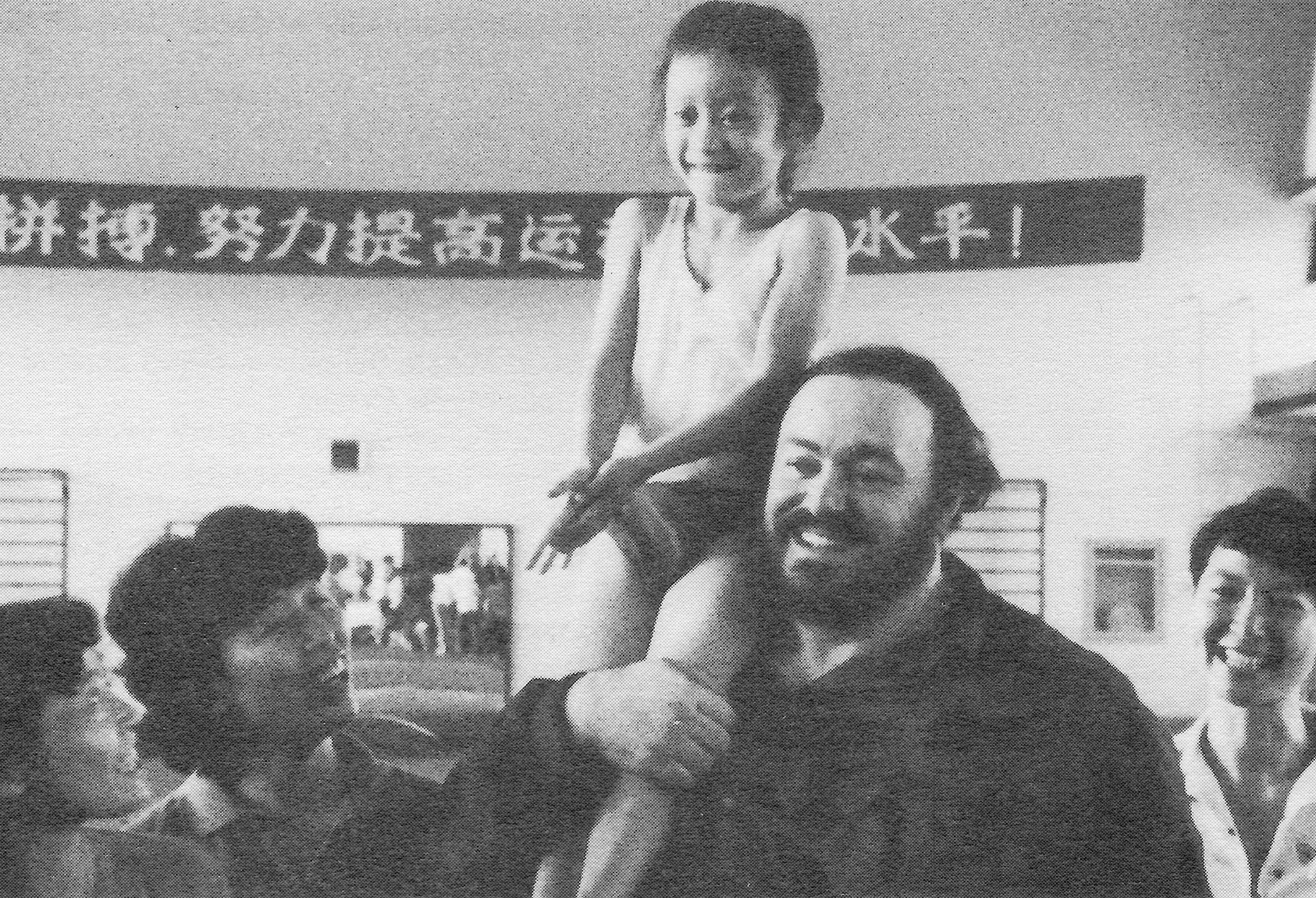 A scene from Distant Harmony, Luciano Pavarotti in China