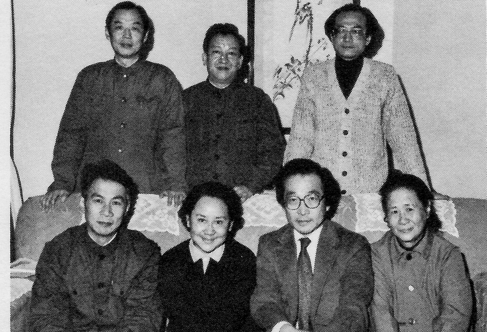 The gathering of representatives from Shanghai's dance organizations included (seated left to right): Xiao Yan, director of the Shanghai Music and Dance Troupe; Li Mulin, Shanghai Institute of Dance; Chou Wen-chung; and Hu Rongrong of the Shanghai Ballet Company. Standing from left to right are Zhu Jidao and Zhao Jingan of the Shanghai Arts Bureau and Chen Xiyang, conductor of the Shanghai Ballet Company.
