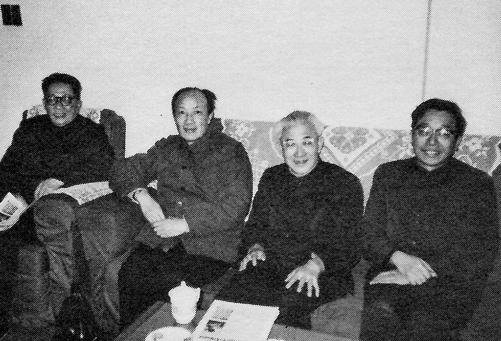 The Center plans to expand its programs to include translation and publication. Seated here are leaders in the field of publication: Wang Ziye (second from right), deputy director of the Chinese National Publishing Administration, and left to right: Wang Heng of the Chinese National Publishing Company, Tu An of People's Literature Publishing tlouse, and Shen Changwen of People's Publishing House.