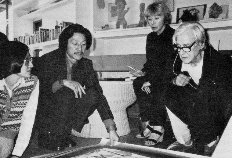 Willem and Elaine de Kooning study a painting by Yuan Yunsheng in their East Hampton home; at left. Center program coordinator May Wu translates