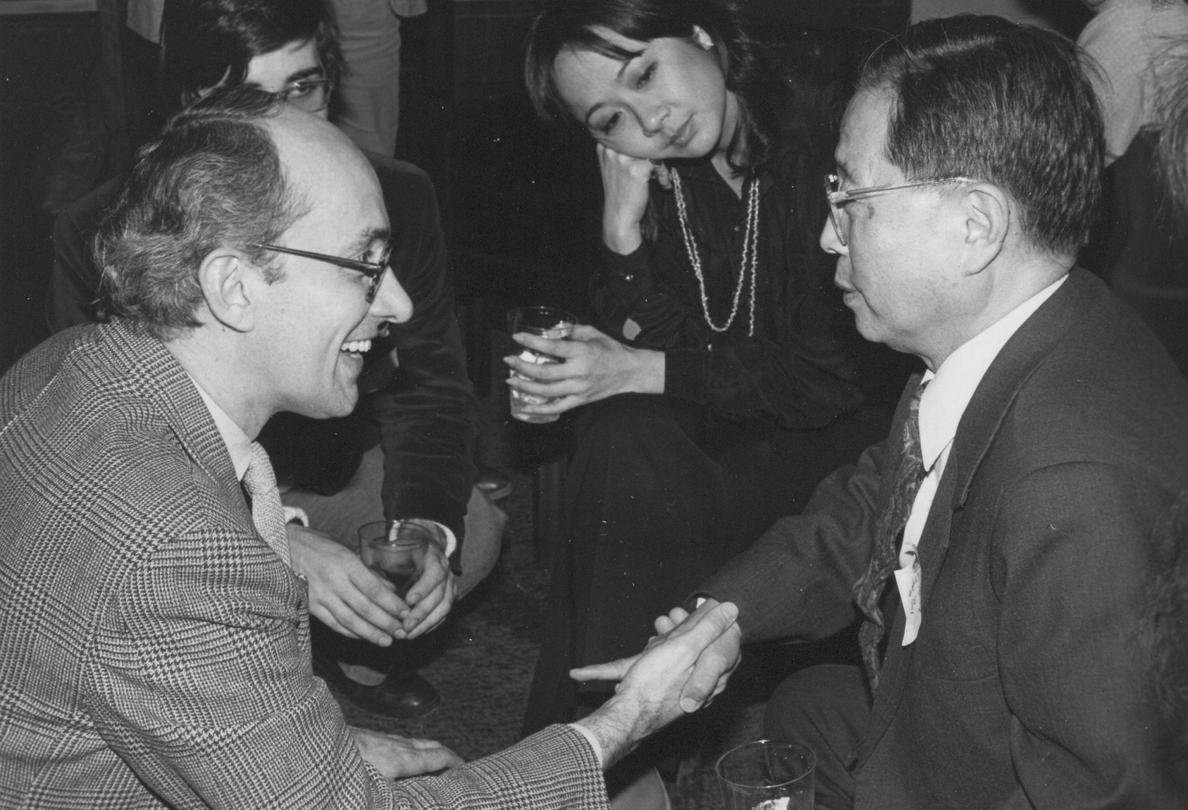Cao Yu at a reception after a performance of Peking Man