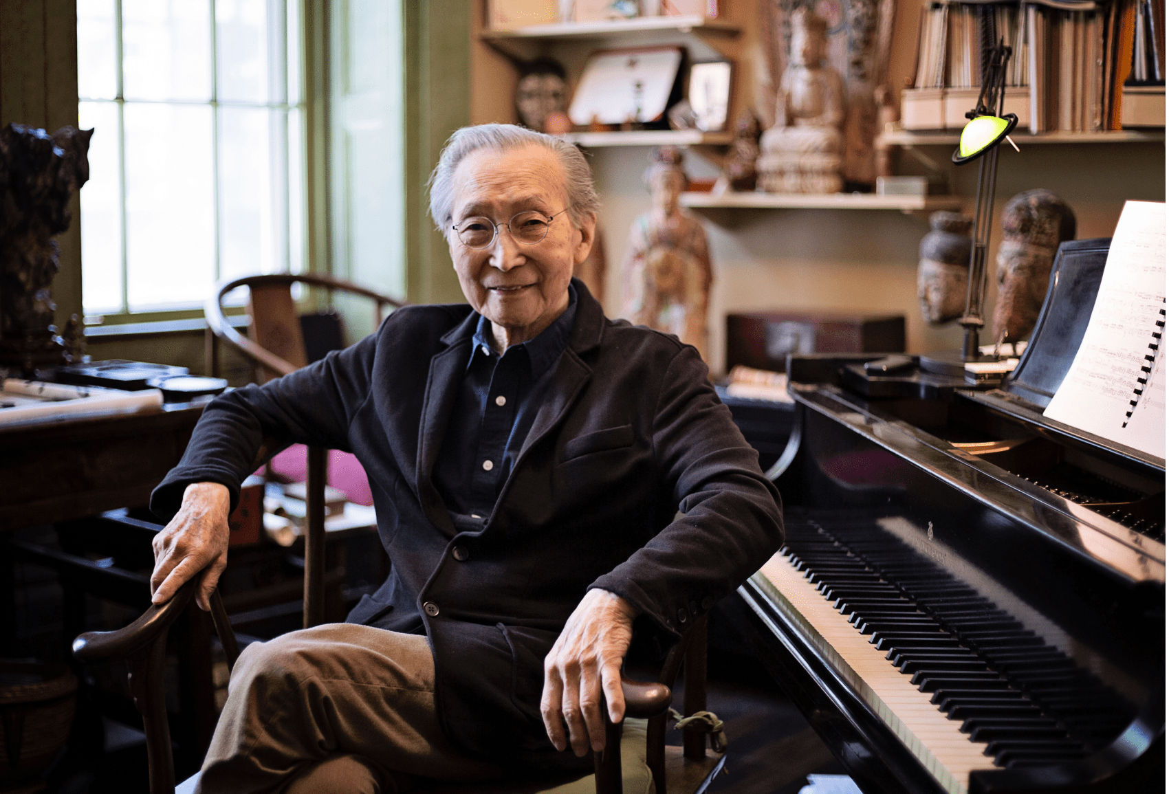Chou Wen-chung at home in New York, 2018