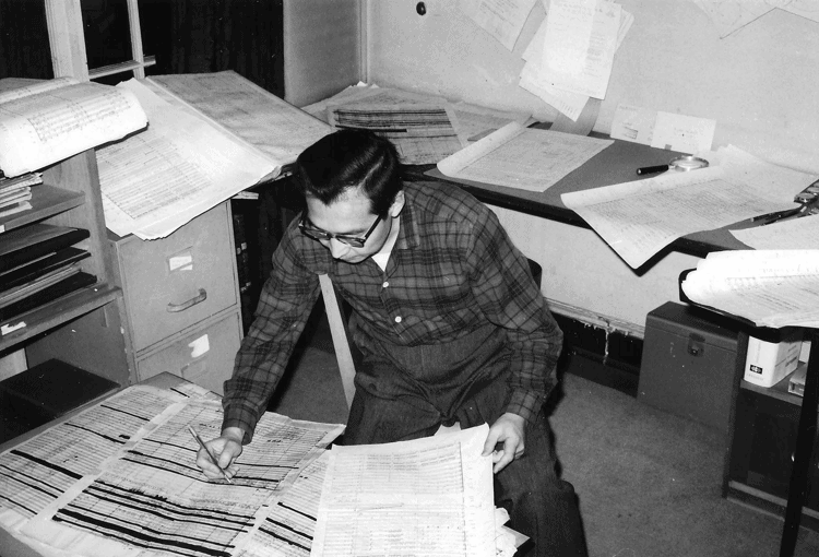 Chou Wen-Chung working in Varèse's music studio