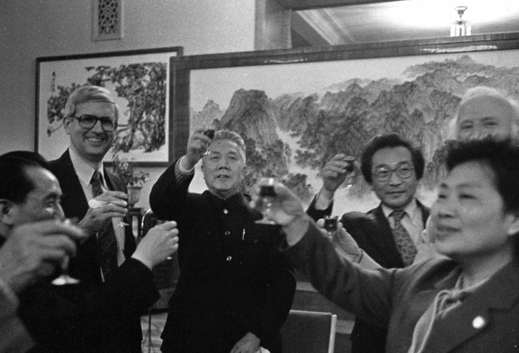Stapleton Roy, Alwin Nicholais and Chou Wen-chung in China, 1981